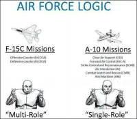 "A 10: AIR FORCE LOGIC  F-15C Missions  A-10 Missions  Offensive Counter Air (OCA)  Close Air Support (CAS)  Defensive counter Air (DCA)  Forward Air Control(FAC-A)  Strike Controland Reconnaissance (SCAR)  Air Interdiction (AI)  Combat Search and Rescue (CSAR)  Anti-Maritime (AM)  ""Multi-Role''  ""Single-Role''"