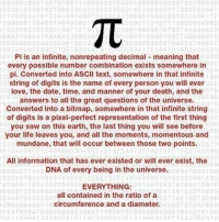 math irrational Pirated from @godworksout: 6230  1 003 563  6801  121 292 SB  Pi is an infinite, nonrepeating decimal meaning that  every possible number combination exists somewhere in  pi. Converted into ASCII text, somewhere in that infinite  string of digits is the name of every person you will ever  love, the date, time, and manner of your death, and the  answers to all the great questions of the universe.  Converted into a bitmap, somewhere in that infinite string  of digits is a pixel-perfect representation of the first thing  you saw on this earth, the last thing you will see before  your life leaves you, and all the moments, momentous and  mundane, that will occur between those two points.  All information that has ever existed or will ever exist, the  DNA of every being in the universe.  EVERYTHING:  2265880  all contained in the ratio of a  9526586  circumference and a diameter.  62 484 37  2007 31 OS  47808 754 683  43021845 math irrational Pirated from @godworksout