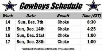 "Cowboys schedule  Week  Date  Result  Time (EST)  Choke  8:30  14  Sun, Dec. 7th  Choke  4:25  15 Sun, Dec. 14th  Choke  1:00  16 Sun, Dec. 21st  Choke  1:00  17 Sun, Dec. 28th  ""Dates and Times Subject to change PissedCoughlin Breaking News!  The Cowboys December schedule has been released early.  Like Us NFL Memes! Credit - Tim Thompson"