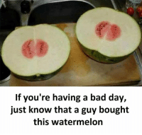 Bad, Bad Day, and Memes: 63  If you're having a bad day,  just know that a guy bought  this watermelon Follow our new page - @sadcasm.co