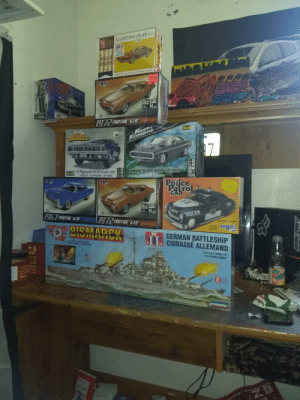"""Anybody else into models? (U have a problem): 63 STINGRAY  132  DADIN ROW  SCALE  STARS  L121LAL  end  aE  A  ALLAR S  mpe  TRacing  1972 PONTIAC GTO  Pevell  FAST&  FURIOUE  7-  MINIC'S 14HE unCE CHAREER  ERSTCO  71 Plymouth HEMI Cuda 426  1 PLASTIC NIT/1 NIT EN PLABTIONE/1 NIT PLASTICO  Revell  1 PLACTIC T  SUPEN  Police  mpe  mpe  Patrol  CAR  54  POLICE  467 PONTIAC GTO  972 PONTIAC GTO""""  MOLDED IN 3 COLORS  mpc  BISMARCK  GERMAN BATTLESHIP  I. CUIRASSÉ ALLEMAND  AUTHEMTIC SCALE MODEL  MODELE REDUIT AUTHENTIQUE  1/350 SCALE MODEL KIT  1/250 MODELE RBUIT  Mor Sipen 10 and Gover  proser ige 15  INDBERG  '68 Shetby GT350M  TRONIPONY Anybody else into models? (U have a problem)"""