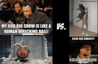 Wrestlememeia Round 1! If you aren't familiar each page has an eight meme knockout tournament to crown their meme of the year and then the winner from each page goes head to head.  First one on this page is Chokeslam cat (http://tinyurl.com/chokeslamcat) vs Big Show wrecking ball (http://tinyurl.com/bigshowball) Vote here: http://poll.pollcode.com/8945337 (facebook was kind enough to remove the poll option): MY GOD  BIG SHow LIKE A US  HUMAN WRECKING BALL!  facebook.com wrestlingmemes  GOOD GOD ALMIGHTY  HE JUST CHOKESLAMMED HIMSTRAIGHT  TO HELL! FORTHELOVE OF GOOTHAT CAT  HAS AN OWNER! Wrestlememeia Round 1! If you aren't familiar each page has an eight meme knockout tournament to crown their meme of the year and then the winner from each page goes head to head.  First one on this page is Chokeslam cat (http://tinyurl.com/chokeslamcat) vs Big Show wrecking ball (http://tinyurl.com/bigshowball) Vote here: http://poll.pollcode.com/8945337 (facebook was kind enough to remove the poll option)