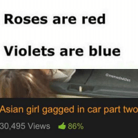Asian Girl Meme: Roses are red  Violets are blue  memedaddies  Asian girl gagged in car part two  30,495 Views 86%