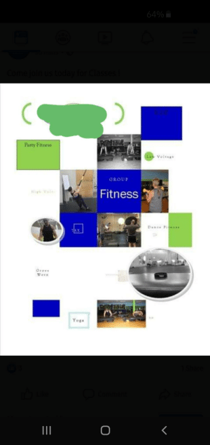 Party, Saw, and Today: 64%  Come join us today for Clas  Party Fitness  Lo Voltag  GROUP  igh le  Fitness  Pan Fl  Grove  Wors  Yoga  I  O Saw this on my gym's page this morning and immediately thought of this sub