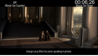 Future, Movie, and George Lucas: 64  Movie Sin Counter  00:06:26  Movie Sin  George Lucas films his actors speaking in private.
