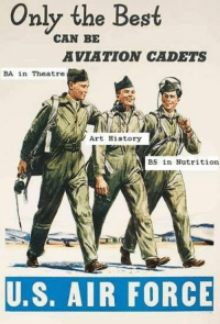 Air Force NationVintage Artwork: Only the Best  CAN BE  AVIATION CADETS  BA in Theatre  Art History  BS in Nutrition  U.S. AIR FORCE Air Force NationVintage Artwork