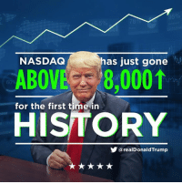 History, Time, and Nasdaq: 65%  NASDAQ  has just gone  ABOVE 8,0001  609  for the first time in  HISTORY  У @realDonaldTrump NASDAQ has just gone above 8000 for the first time in history!