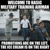 WELCOME TO BASIC  MILITARYTRAINING AIRMAN  200  HOLl  PROMOTIONS ARE ON THE LEFT  THE ICE CREAMIS ON THE RIGHT It's time for meme WAR!Meme WAR! The Marines respond to the Air Force!