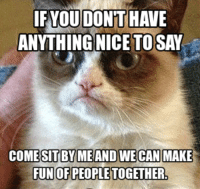Cats, Grumpy Cat, and Smile: IF YOU DONT HAVE  ANYTHING NICE TOSAY  COMESITBYMEAND WECAN MAKE  FUNOFPEOPLETOGETHER, If you have nothing nice to say...... Grumpy Cat. smile emoticon