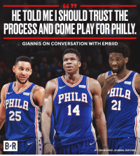 👀: 66 99  HETOLD MEISHOULD TRUST THE  PROCESS AND COME PLAY FOR PHILLY  GIANNIS ON CONVERSATION WITH EMBIID  14-i  21  25  HAT MILWAUKEE JOURNAL SENTIN 👀