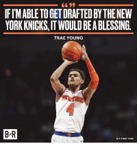 Good fit for the Knicks?: 66 99  IFIMABLE TO GET DRAFTED BY THENEW  YORK KNICKS,IT WOULD BEA BLESSING.  TRAE YOUNG  B'R  H/T FIRST TAKE Good fit for the Knicks?