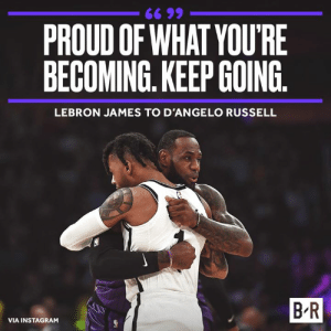 Future, Instagram, and LeBron James: 66 99  PROUD OF WHAT YOU'RE  BECOMING. KEEP GOING  LEBRON JAMES TO D'ANGELO RUSSELL  B R  VIA INSTAGRAM LeBron sees a bright future for DLo