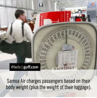 Facts SamoaAir Samoa Flight Travel Weight: 660  18o  640  200  620  @facts I guff com  RAGS ONLY  Samoa Air charges passengers based on their  body weight (plus the weight of their luggage Facts SamoaAir Samoa Flight Travel Weight