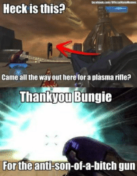 Bitch, Guns, and Halo: lacebook com/OfficialHaloMemes  Heck is  this?  Came all the way out here for a plasma rifle?  Thankyou Bungie  Forthe  anti-Son-of-a-bitch gun You know I never actually found my own scarab gun. Shooting vending machines out of plasma pistols using mods was more fun anyways. I did find the golden warthog though, back in the day. ~Prodigy