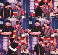 Hug me, brother  L  Not here man, there's people.  Quick one i miss drake & josh