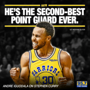 Memes, Stephen, and Stephen Curry: 6695  HE'S THE SECOND-BEST  POINT GIIARD EVER.  H/T ANTHONY SLATER  Rakuten  ANDRE IGUODALA ON STEPHEN CURRY  THE GAME RT @957thegame: Do you agree with Andre? https://t.co/7Pl9MJWA4q