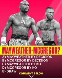 Mayweather, SportsCenter, and McGregor: 67  MAYWEATHER-MCGREGOR?  A) MAYWEATHER BY DECISION  B) MCGREGOR BY DECISION  C) MAYWEATHER BY KO  D) MCGREGOR BY KO  E) DRAW  COMMENT BELOW Which one? 🤔 @SportsCenter https://t.co/bIMdrtb1zP