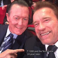 Glad they worked everything out.: T-1000 and the Terminator  24 years later Glad they worked everything out.