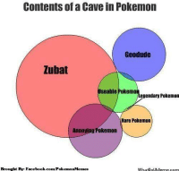 Facebook, Pokemon, and facebook.com: Contents of a Cave in Pokemon  Geodude  Zubat  Useable Pokemo  egendary Pokemon  Rare Pokemon  Annoying Pokemon  Brought Bye Facebook.com/PokemonMemes  WhatooUMerme com Contents of a cave!