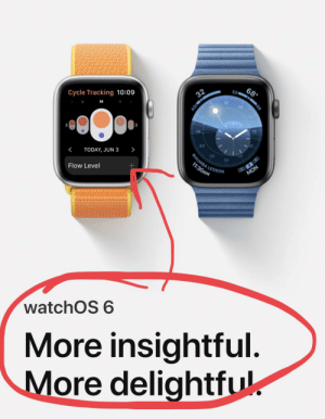 Today, Watches, and Screenshots: 68  52  32  Cycle Tracking 10:09  89  M  AQI  18  06  04  >  TODAY, JUN 3  <  02  24  RHUMBA LESSO  2 3 A  MON  11:30AM  Flow Level  watchOS 6  More insightful.  More delightful For all you married guys..... sync your watches!!!