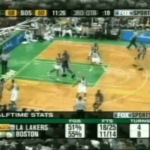 HBD Ricky Davis aka Get Buckets! The only NBA player who would attempt a between the legs dunk in a game, miss it, get his rebound and do a windmill!!  https://t.co/BUhSbLgLkS: 68 BOS 60  11:26 3RD OTR 18  FOX SPORT  ter  LFTIME STATS  FOX SPORTS  TURNS  FGS  514  55%  FTS  LA LAKERS  BOSTON  18/25  11/14  8 HBD Ricky Davis aka Get Buckets! The only NBA player who would attempt a between the legs dunk in a game, miss it, get his rebound and do a windmill!!  https://t.co/BUhSbLgLkS