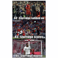 Memes, 🤖, and Career: 68 Sturridge subbed on  @Trollfootball  83Sturridge scoresa  0848Sturridgeinjured Sturridge's Career 😫😕😢