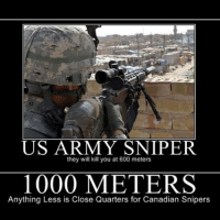 Take a look!: US ARMY SNIPER  they will kill you at 600 meters  1000 METERS  Anything Less is Close Quarters for Canadian Snipers Take a look!