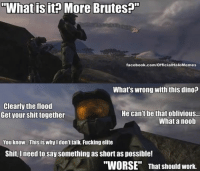 """Inside the mind of the Master Chief. ~Chris: """"What is it? More Brutes?""""  facebook.com/OfficialHaloMemes  What's wrong with this dino?  Clearly the flood  He can't be that oblivious...  Get your shit together  What a noob  You know. This is why I don't talk. Fucking elite  Shit, need to say something as Short as possible!  """"WORSE"""" That should work. Inside the mind of the Master Chief. ~Chris"""