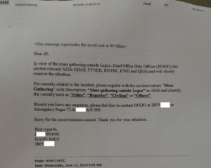 """Head, Police, and Sorry: 6888  PAGE  Hespital Authority  2019-06-12 09 53 12  23  <This message supersedes the email sent at 09:42hrs>  Dear all,  In view of the mass  alerted relevant AEDS (QMH, PYNEH, RHTSK, KWH and QEH) and will closely  monitor the situation.  gathering outside Legco. Head Office Duty Officer (HODO) has  For casualty related to the incident, please register with the incident nature """"Mass  Gathering"""" with Description: """"Mass gathering  the casualty such as """"Police"""" """"Reporter"""", """"Civilian"""" or """"Others""""  ide Legco"""" in AEIS and identify  Should you have any enquirics, please feel free to contact HODO at 2805  Emergency Pager 71 16 