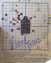 """Target, Zero, and 300: 21 18  15  12  /No  12  15  REAR  SIGHT  SIGHT  WINDAG  WINDAGE  2 FRONT  FRONT  SIGHT  METERS  4 FRONT  FRON  SIGHT  SIGHT  REAR  SIGHT  WNDAGE  WINDAGE  15  ZERO TARGET DATA FOR M4 CARBINE  1 FOR ZEROING AT 25 METERS. ROTATE THE REAR SIGHT ELEVATION KNOB  TO THE 300 METER (f/3) SETTING (DO NOT USE THE """"Z"""" MARK ON THE  ELEVATION KNOB)  2- AlM AT TARGET CENTER. ADJUST SIGHTS TO M  SHOT GROUP eENTER  AS CLOSE AS POSSIBLE TO THE WHITE DOT IN THE CENTER OF THE TARGET  AFTER COMPLETING THE 25 METER ZERO. THE WEAPON WILL BE ZEROF  FOR 300 METERS"""
