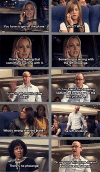 Friends, Funny, and God: You have to get off the plane.  I have this feeling that  something swrong with it.  I have to get off this plane.  okay?  What's wrong with the plane?  There's no phalange!  What? Why?  Something is wrong with  the left phalange.  Uh, her friend has a feeling  somethings wrong  With the  eft phalange  The left phalange.  Oh my god! This plane doesn't  even have  a phalange world shall never forget Phoebe's contribution in getting Rachel off the plane & also inventing the left phalange