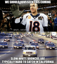 Football, Nfl, and OJ Simpson: WE SHOULD HAVE SEEN THIS COMING SLOW WHITE BRONCOS ARE TYPICALLY HARD TO CATCH IN CALIFORNIA True.