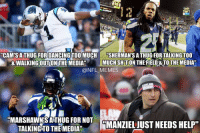 """Thug: @NFL_Memes  #Thug  """"Cam's a thug for dancing too much and walking out on the media.""""  """"Sherman's a thug for talking too much shit on the field and to the media.""""  """"Marshawn's a thug for not talking to the media.""""  """"Manziel just needs help."""" Thug"""