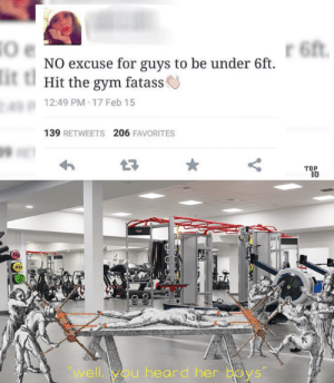 """Dank, Gym, and Memes: 6ft  NO excuse for guys to be under 6ft  it t  Hit the gym fatass  12:49 PM 17 Feb 15  139 RETWEETS 206 FAVORITES  TOP  10  """"well,you heard her Boys"""" Women and their long expectations. by westopher MORE MEMES"""