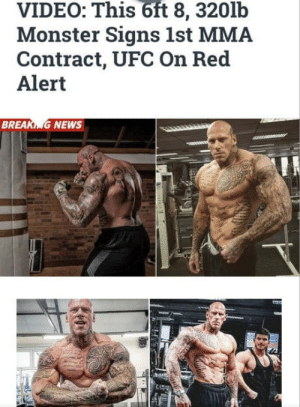 Monster, News, and Ufc: 6ft  VIDEO: This 8, 320lb  Monster Signs 1st MMA  Contract, UFC On Red  Alert  BR  G NEWS Shiiiiittt