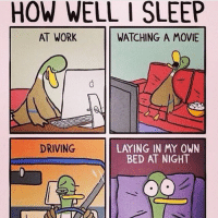 Too Real (repost @bobushnell): HOW WELL I SLEEP  AT WORK  WATCHING A MOVIE  DRIVING  LArING IN MY OWN  BED AT NIGHT Too Real (repost @bobushnell)