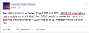 memehumor:  He just can't figure out which one is worse!: 6hrs .  Two dates America will never forget 91 and 11/9. still don't know which  one is worse, an attack that killed 3000 people or an election result that  screwed the entire world. It will effect all of us, whether we live there or  not.  ide Like Comment Share memehumor:  He just can't figure out which one is worse!
