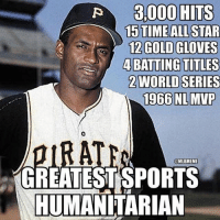 Today would have been Roberto Clemente's 81st birthday-LlKE for a true legend on and off the field.: 3,000 HITS  15 TIME ALLSTAR  12 GOLD GLOVES  4 BATTING TITLES  ZWORLD SERIES  1966 NL MVP  AT  MLBMEME  GREATEST SPORTS  HUMANITARIAN Today would have been Roberto Clemente's 81st birthday-LlKE for a true legend on and off the field.