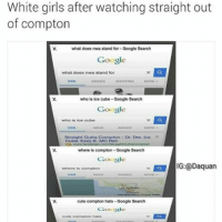 😂😂 @TheSavagePosts: White girls after watching straight out  of compton  what does nwa stand for Google Search  Google  What does nwa stand for  who is ice cube Google Search  Google  who is ice cube  Straight Outta Compton  Dr. Dre, ice  Caibe. Eazy E, MC Ren  where is compton Google Search  Google  G:@Daquan  cute compton hats Google Search  Google 😂😂 @TheSavagePosts