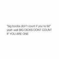 "Big Dick, Dicks, and Lol: ""big boobs don't count if you're fat""  yeah well BIG DICKS DONT COUNT  IF YOU ARE ONE lol"