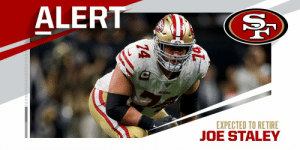6x Pro Bowl OT Joe Staley expected to retire after 13 seasons. (via @MikeGarafolo + @RapSheet) https://t.co/Kd0v9JNJCo: 6x Pro Bowl OT Joe Staley expected to retire after 13 seasons. (via @MikeGarafolo + @RapSheet) https://t.co/Kd0v9JNJCo