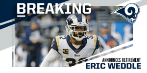 6x Pro Bowl safety Eric Weddle announces retirement. https://t.co/FIArftjMdZ: 6x Pro Bowl safety Eric Weddle announces retirement. https://t.co/FIArftjMdZ