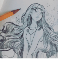 Dank, 🤖, and Afternoon: 7  ン Sunday afternoon sketch ~ drawing hair is so relaxing to me~ what do you guys find most fun/soothing to draw? uvu I hope you're all having a lovely day!!  www.instagram.com/cyarine