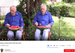 Watermelon, Aug, and 4share: 7:07/13:59  Eating a Watermelon With My Clone  1,546,881 views  1371.4SHARE S  SAVE .  Featureman  Published on Aug 1,2016  SUBSCRIBE 103K