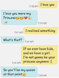 my princess: 7:18 AM I love you  I love you more my  Princess  7:19 AM  realized something  7:21 AM  What's that? 722 AM  If we ever have kids  and we have a girl.  I'm not gonna be your  7:22 AM Princess anymore :(  So you'll be my queen  at that point  7:23 AM