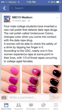 Memes, Her Finger, and 🤖: 7:25 PM  ooo Verizon  66%  a Search  NBC15 Madison  15  15 hours ago  Four male college students have invented a  new nail polish that detects date rape drugs.  The nail polish called Undercover Colors,  changes color when you come into contact  with the date rape drug.  A woman will be able to check the safety of  a drink by dipping her finger in it.  According to the CDC, nearly one in five  women experience rape at some point in  their lives, with 1/3 of those rapes occurring  In College aged females.  CO Write a comment  News Feed Requests  Messages Notifications  More Sad that people really drug females, but this is awesome 🙌