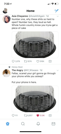 Blackpeopletwitter, Phone, and Twitter: 7:331  Home  Asia Cheyanne @AsiaAtltAgain 1d  Number one, why these shits so hard to  open? Number two, they loud as hell.  Whole fuckin country know you tryna get a  piece of cake  1,079 t107K 316K  Honey liked  The Angry @NY_Wiseass 1d  Fellas, scared your girl gonna go through  your phone while you asleep?  Put your phone in here.  111 t6,857 12.9K <p>The 2 sides of Black Twitter (via /r/BlackPeopleTwitter)</p>
