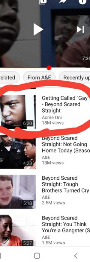 """Dont know if it belongs here but hey.: 7:3E  Eelated  Recently up  From A&E  Getting Called """"Gay""""  - Beyond Scared  Straight  Acme Oni  18M views  6:20  Beyond Scared  Straight: Not Going  Home Today (Seaso  A&E  13M views  4:23  Beyond Scared  Straight: Tough  Brothers Turned Cry  A&E  2.5M views  5:18  Beyond Scared  Straight: You Think  You're a Gangster (S  A&E  1.5M views  5:27    Dont know if it belongs here but hey."""