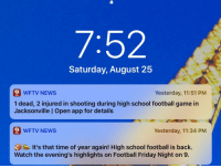 memehumor:  Well that didn't take long: 7:52  Saturday, August 25  9 WFTV NEWS  1 dead, 2 injured in shooting during high school football game in  Jacksonville | Open app for details  Yesterday, 11:51 PM  9 WFTV NEWS  Yesterday, 11:34 PM  It's that time of year again! High school football is back.  Watch the evening's highlights on Football Friday Night on 9. memehumor:  Well that didn't take long