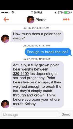God, Sex, and Bear: 7:59 PM  5790  Pierce  Jul 26, 2014, 9:27 AM  How much does a polar bear  weigh?  Jul 26, 2014, 11:37 PM  Enough to break the ice?  Jul 27, 2014, 12:03 AM  Actually, a fully grown polar  bear weighs between  330-1100 lbs depending on  sex and pregnancy. Polar  bears live on ice caps, if they  weighed enough to break the  ice, they'd simply crash  through and drown. Think  before you open your whore  mouth Kelsey  Message  Send God dammit Kelsey